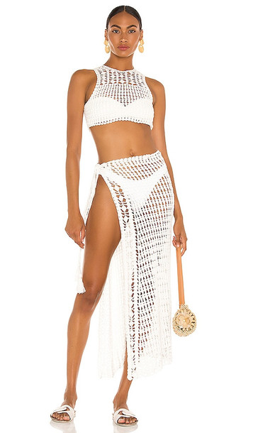 Flook The Label Remi Crop Top & Eliana Skirt Set in White