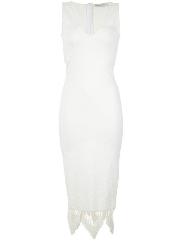Martha Medeiros knit midi dress in white