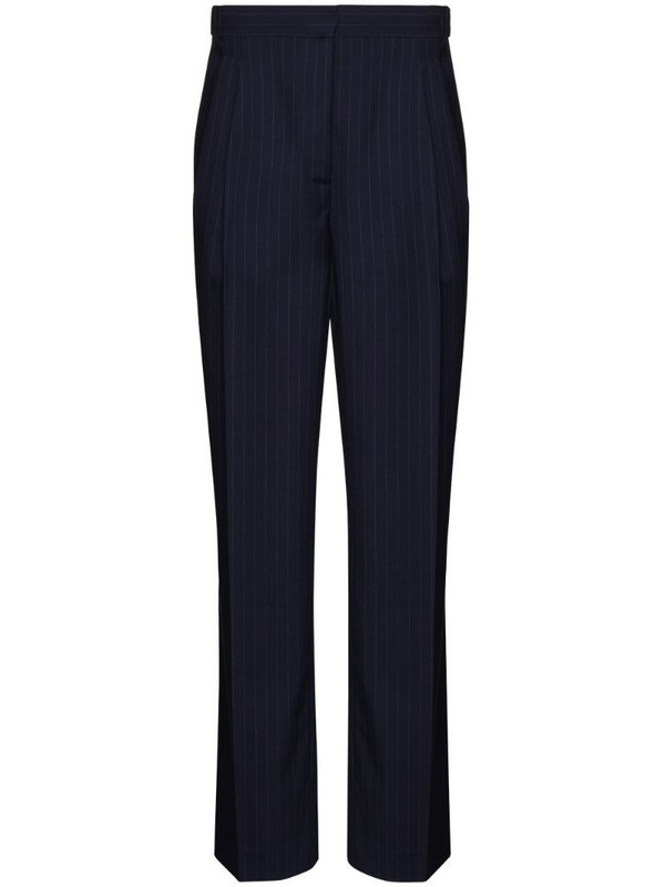 By Any Other Name pinstripe straight-leg trousers in blue