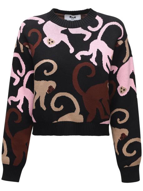 MSGM Monkey Intarsia Knit Cotton Sweater in black / multi