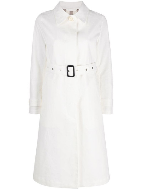 Mackintosh Roslin single-breasted belted trench coat in white