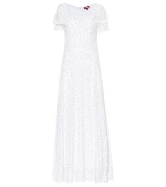 Staud Pelicano flocked crêpe dress in white