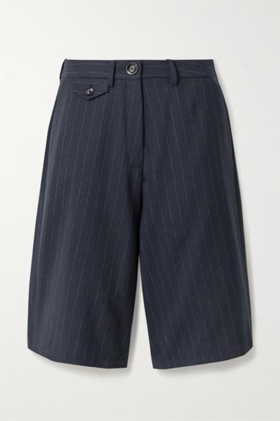 ANNA QUAN - Rae Pinstriped Twill Shorts - Navy