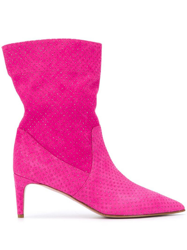 RedValentino RED(V) Softies rhinestone-embellished boots in pink