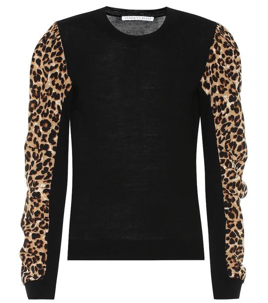 Veronica Beard Adler wool and stretch-silk sweater in black