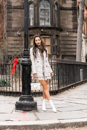 wendy's,lookbook,blogger,jacket,dress,shoes,bag,jewels,mini dress,silk,ruffle dress,long sleeve dress,layered,white boots,ankle boots,white bag,white blazer,double breasted