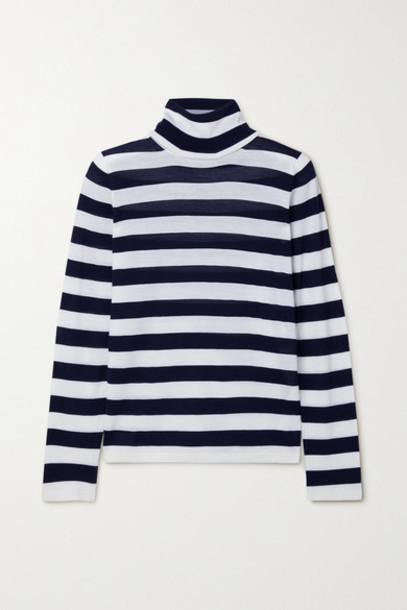 Max Mara - Adelio Striped Wool Turtleneck Sweater - Midnight blue