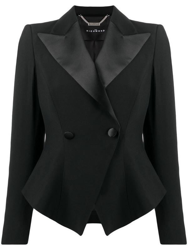John Richmond double-breasted cropped blazer in black
