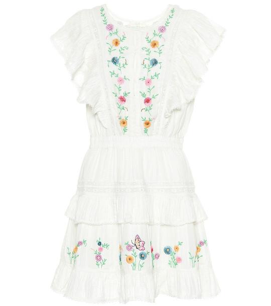 LoveShackFancy Romy floral cotton minidress in white
