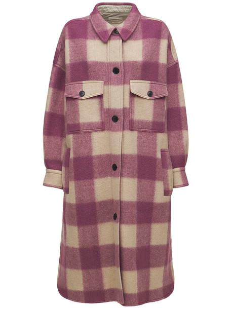 ISABEL MARANT ÉTOILE Fontizi Check Felted Long Shirt Coat in ivory / pink