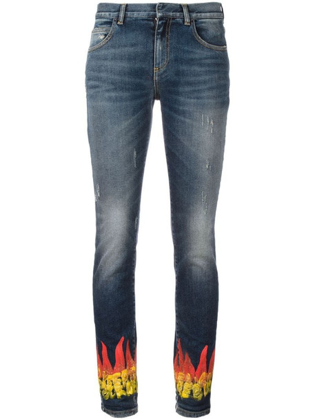 Faith Connexion flame print skinny jeans in blue