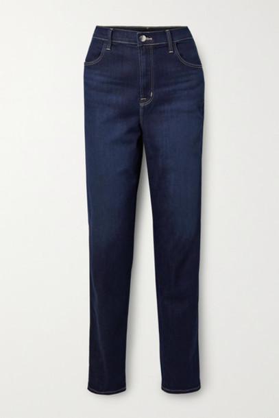 J Brand - Mia High-rise Tapered Jeans - Dark denim