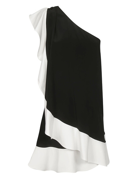 Givenchy One Shoulder Ruffled Dress in black / white