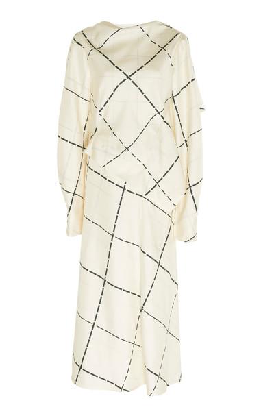 Victoria Beckham Draped Silk Crepe Windowpane Midi Dress Size: 8 in white