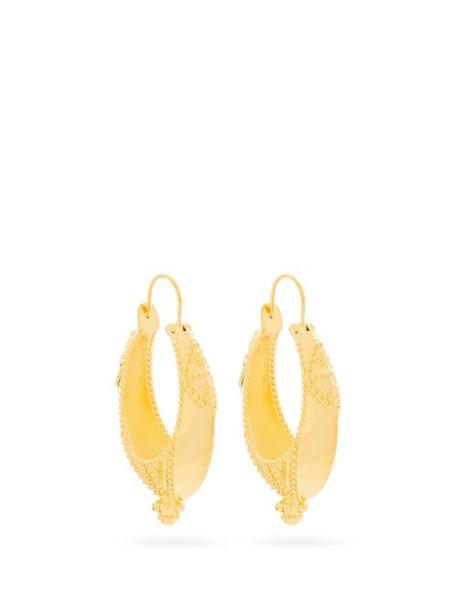 Etro - Engraved Hoop Earrings - Womens - Gold