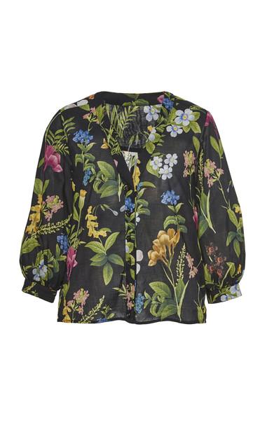 Cara Cara Mayflower Floral-Print Cotton-Voile Blouse Size: XS