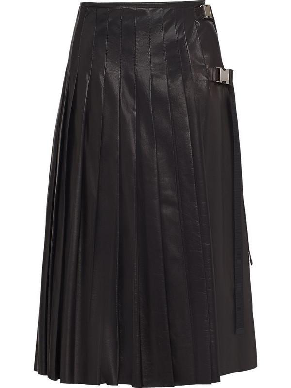 Prada pleated leather midi-skirt in black