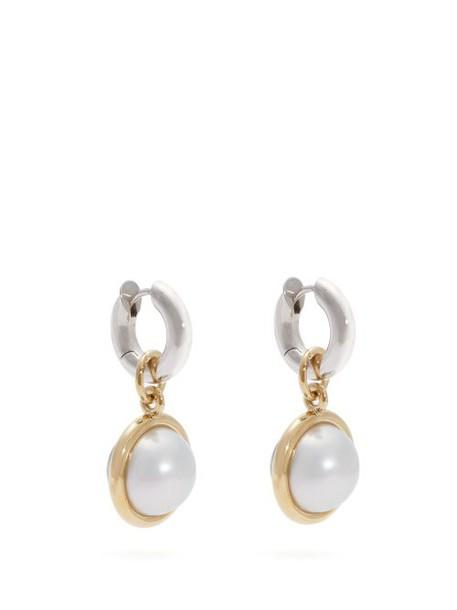 Spinelli Kilcollin - Galina Silver, 18kt Gold & Pearl Hoop Earrings - Womens - Black