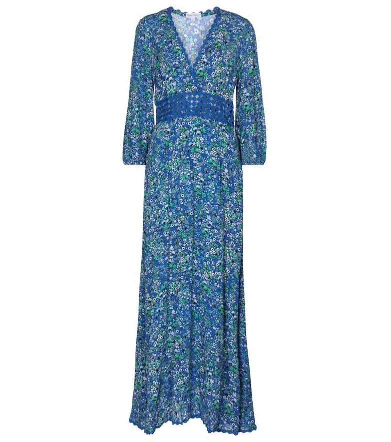 Poupette St Barth Joan floral maxi dress in blue