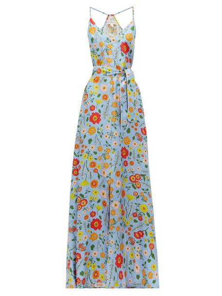 Wiggy Kit - Marina Floral Print Silk Maxi Dress - Womens - Blue Multi