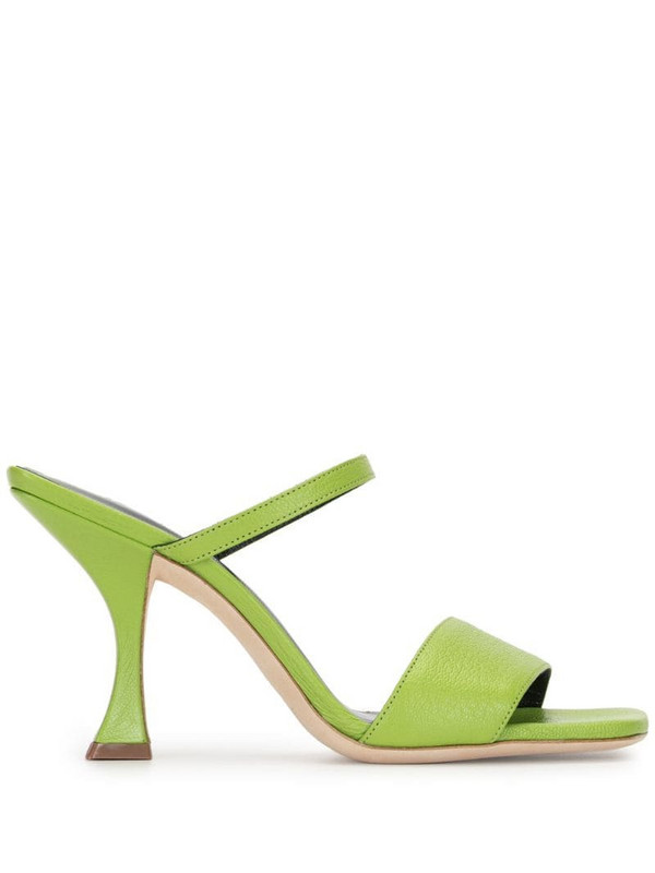 BY FAR square-toe sandals in green