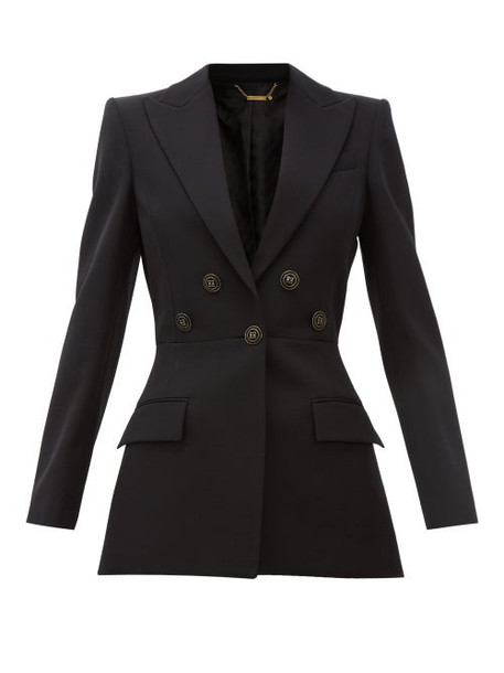 Givenchy - Flared Flocked-button Wool-crépe Suit Jacket - Womens - Black