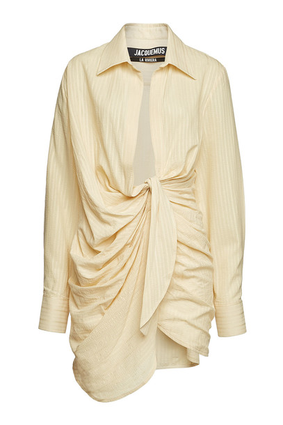Jacquemus La Robe Bahia Wrap Dress with Cotton and Linen  in beige