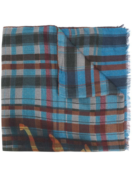 Etro check print selvedge scarf in blue