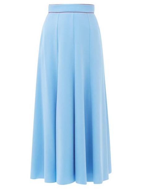 Roksanda - Nusa Crepe Midi Skirt - Womens - Blue