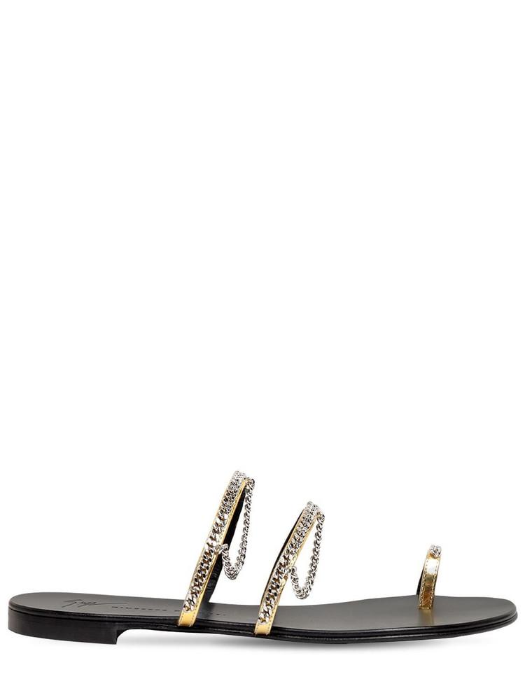 GIUSEPPE ZANOTTI 10mm Metallic Leather Thong Sandals in gold