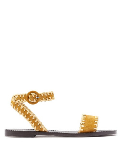 Tabitha Simmons - Judy Raffia Whipstitched Suede Sandals - Womens - Tan