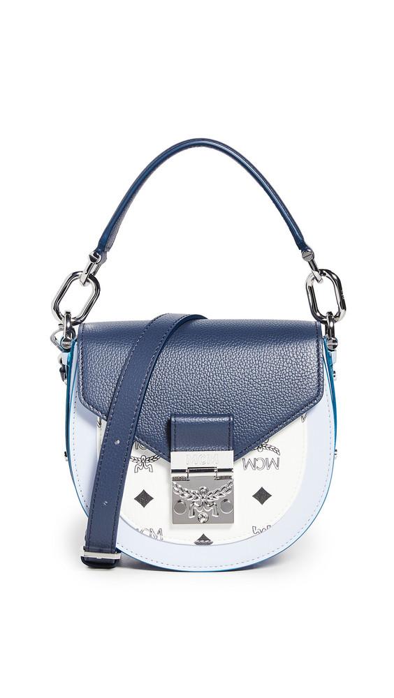 MCM Patricia Visetos Leather Block Shoulder Bag in indigo