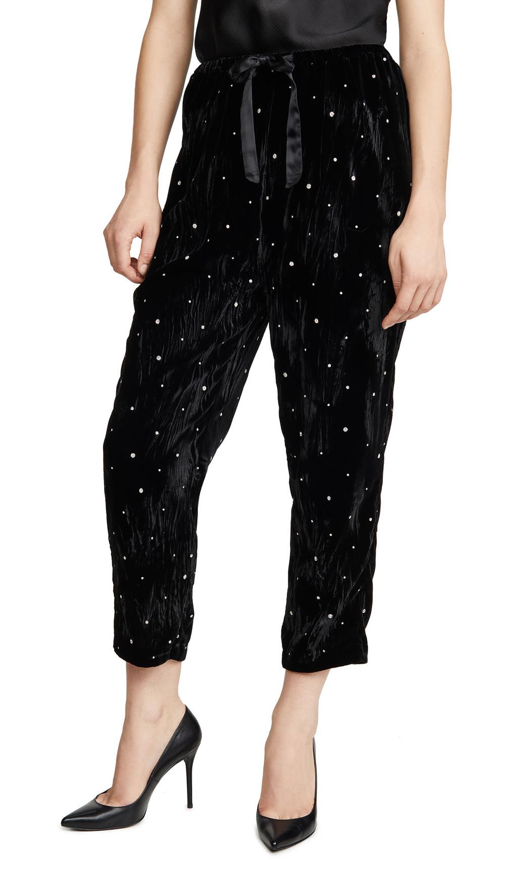 Forte Forte Glitter Velvet Pants in nero