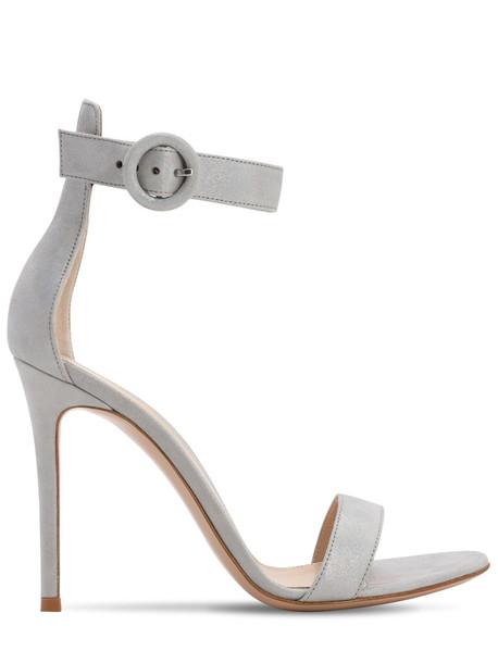 GIANVITO ROSSI 105mm Portofino Leather Sandals in silver