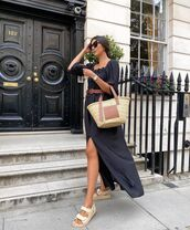 dress,black dress,maxi dress,flat sandals,loewe bag