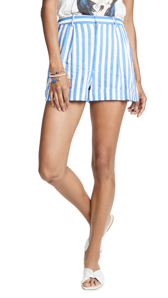 alice + olivia alice + olivia Conry Pleated Cuff Shorts in blue / cream