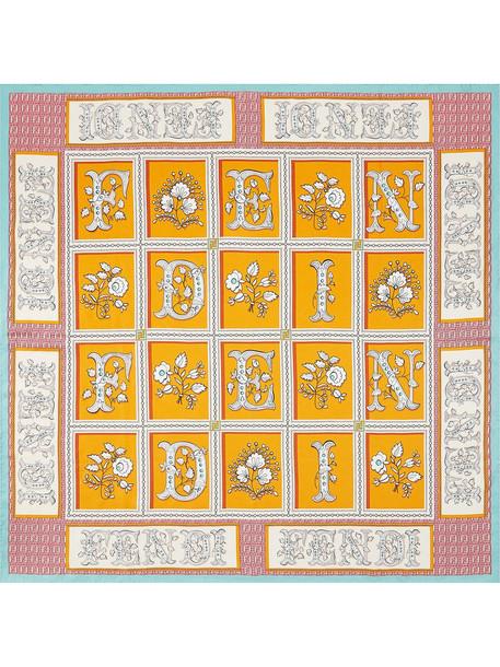 Fendi FF-floral silk bandana scarf - Orange