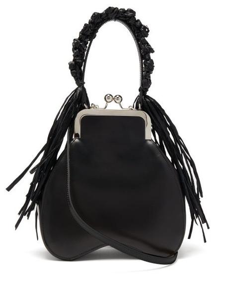 Simone Rocha - Crocheted Raffia-trimmed Leather Clutch - Womens - Black