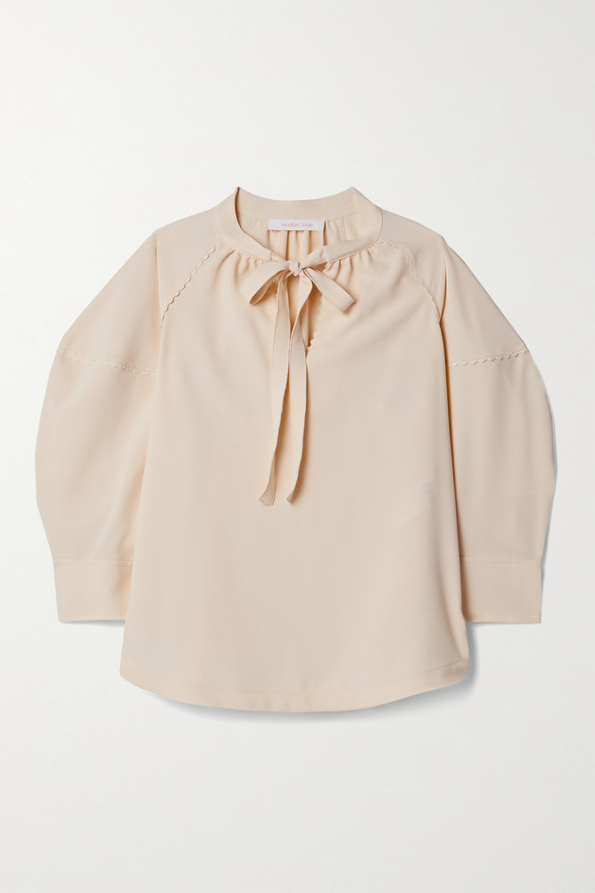 SEE BY CHLOÉ SEE BY CHLOÉ - Tie-neck Crepe Blouse - Cream
