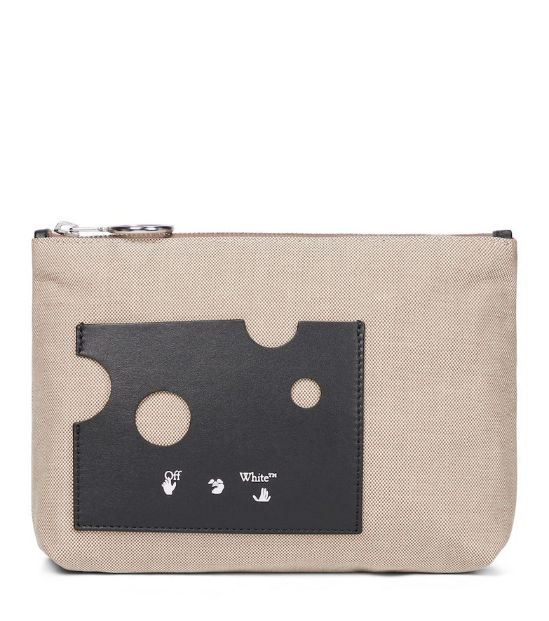 Off-White Repeat leather-trimmed canvas pouch in beige