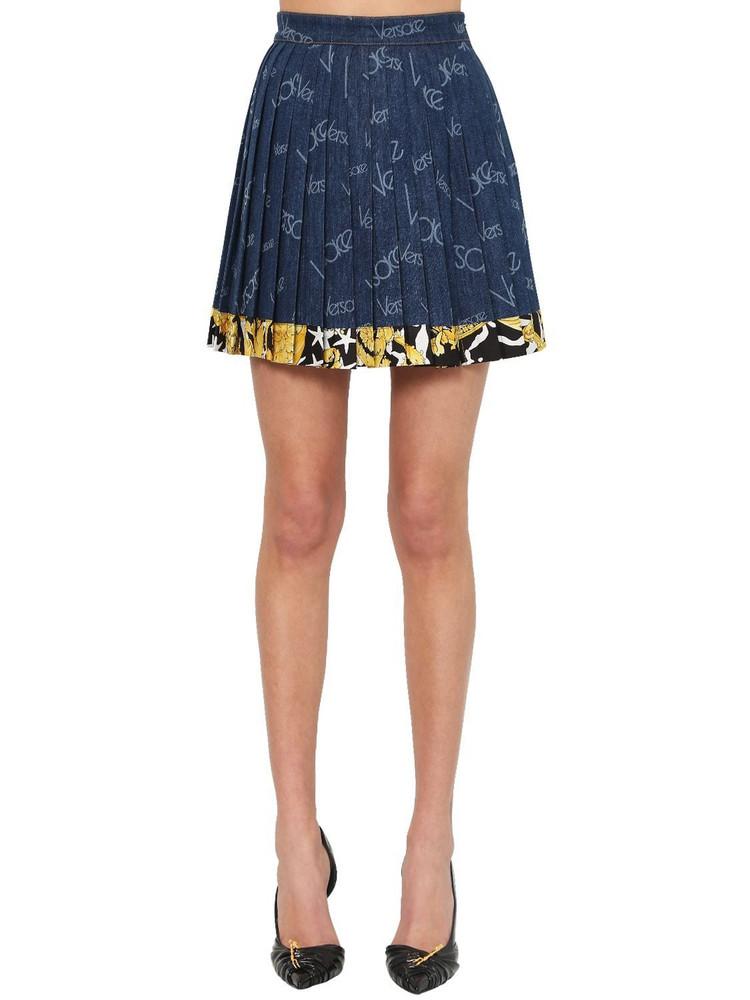 VERSACE 80s Logo Printed Cotton Denim Skirt