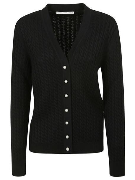 Alessandra Rich Pearl Button Cardigan in black