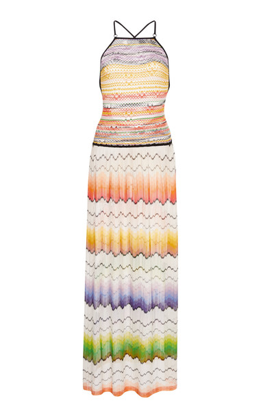 Missoni Mare Open Back Zig-Zag Woven Maxi Dress Size: 40 in multi