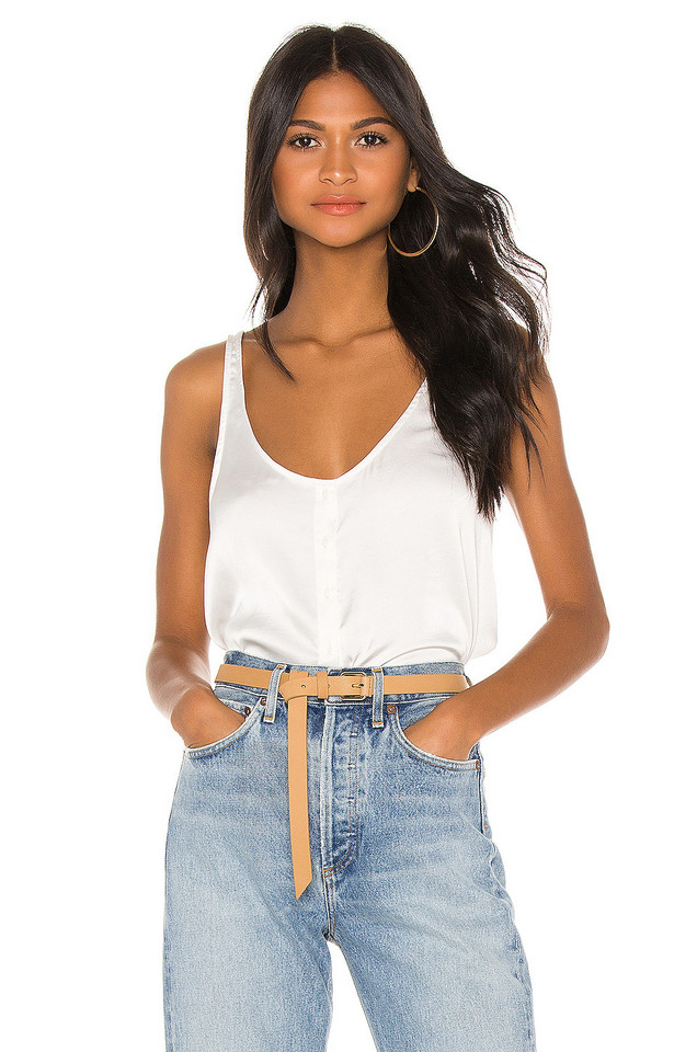 7 For All Mankind Button Up Tank in white