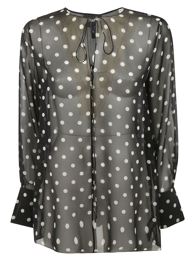 Theory Polka Dot Blouse in black / multi