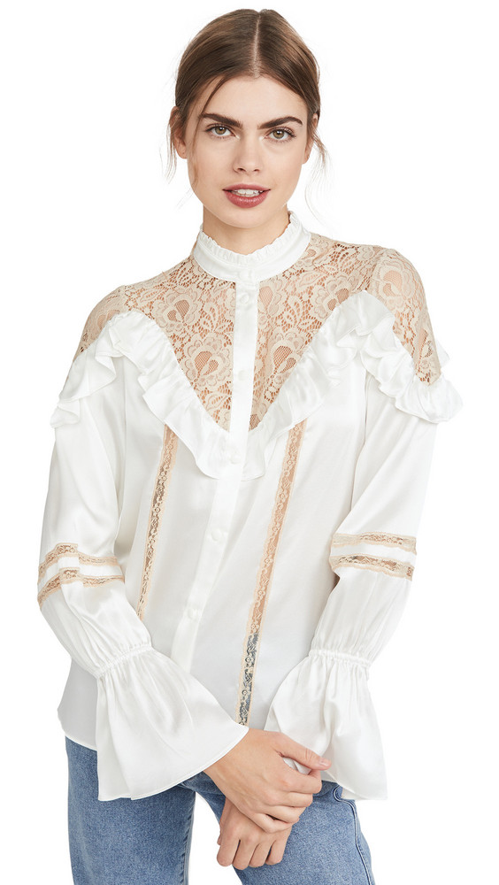 Divine Heritage Long Sleeve Blouse in ivory