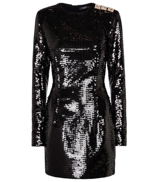 Balmain Embellished sequined minidress in black