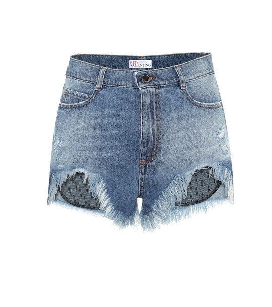 REDValentino Tulle-trimmed denim shorts in blue