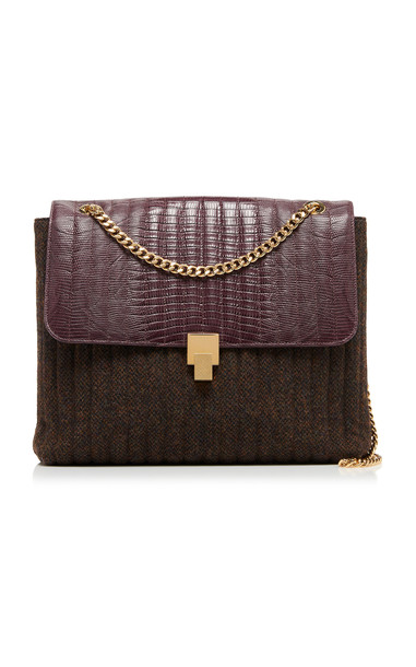 Victoria Beckham Tejus Print Leather Quinton on Chain Bag in burgundy