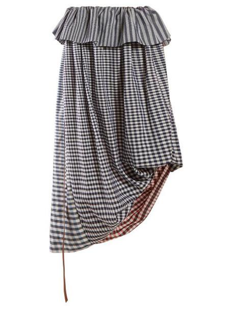 Loewe - Asymmetric Gingham Cotton Twill Midi Skirt - Womens - Blue Multi